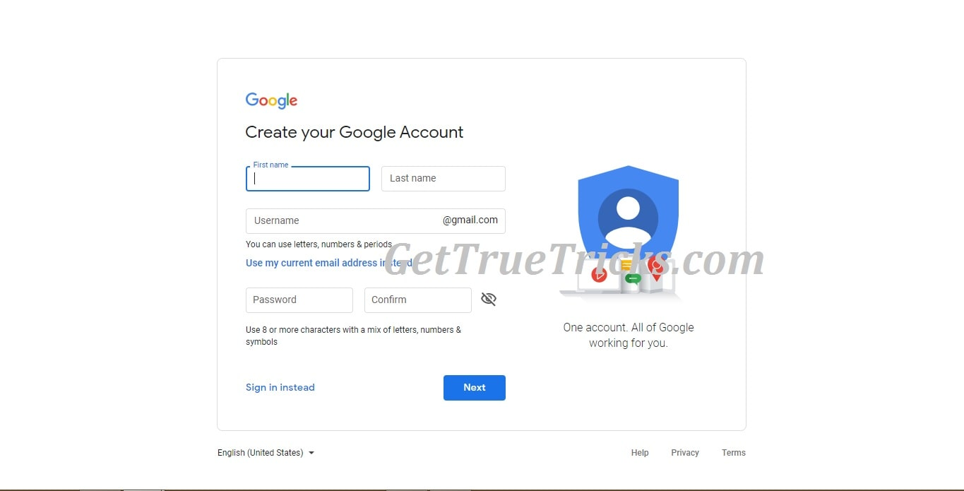 Create a new Google Account